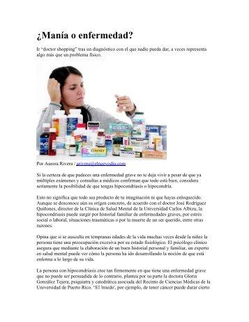 ¿Manía o enfermedad - Recinto de Ciencias Médicas - Universidad ...