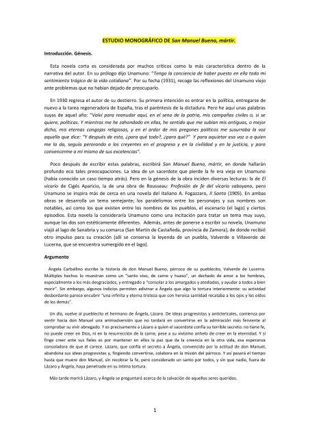 Estudio Monografico De San Manuel Bueno Martir