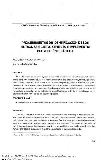 Procedimientos de identificación de los sintagmas sujeto, atributo e ...