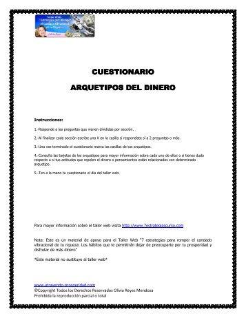 CUESTIONARIO CUESTIONARIO ARQUETIPOS DEL DINERO ...