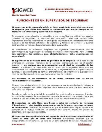 FUNCIONES DE UN SUPERVISOR DE SEGURIDAD - Sigweb