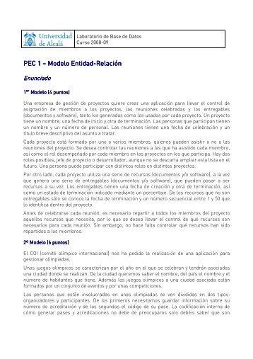 PEC PEC 1 1 – Modelo Modelo Entidad Entidad-Relación Entidad Relación
