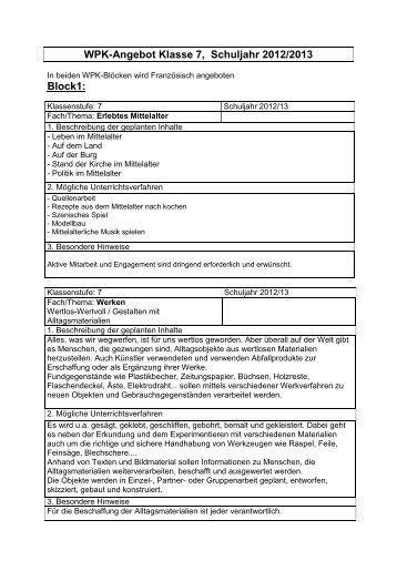 WPK-Angebot Klasse 7, Schuljahr 2011/2012 - Realschule Lehrte