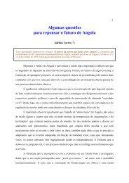 Algumas questões para repensar o futuro de Angola - Adelino Torres