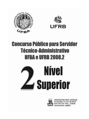 Prova Nível Superior - Concursos - UFBA - Universidade Federal da ...