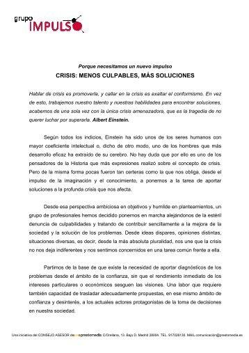 CRISIS: MENOS CULPABLES, MÁS SOLUCIONES - Prestomedia.es
