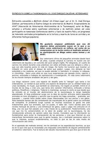 Entrevista concedida a Maltrato Animal: Un Crimen Legal por ... - Arca
