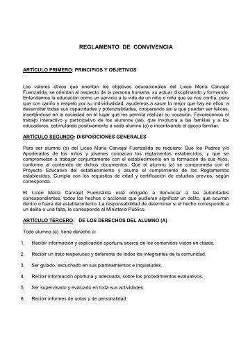 REGLAMENTO DE CONVIVENCIA - Ministerio de Educación