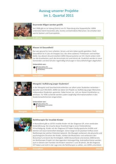 Auszug unserer Projekte im 1. Quartal 2011 - Adra