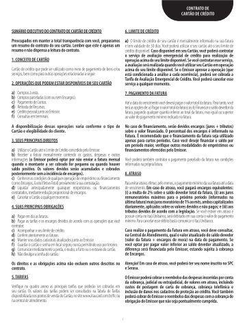 SUMÁRIO EXECUTIVO DO CONTRATO DE CARTÃO ... - Banco Itaú