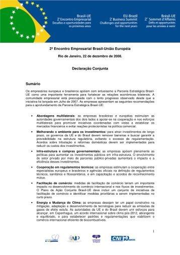 1 2º Encontro Empresarial Brasil-União Européia Declaração ... - CNI