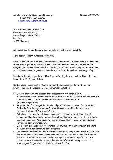 Brief Des Schulelternrates An Den Bürgermeister Herrn Onkes Vom