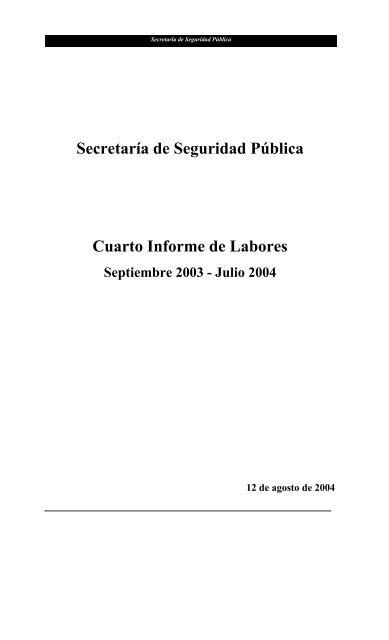 Secretaría De Seguridad Pública Cuarto Informe De Labores