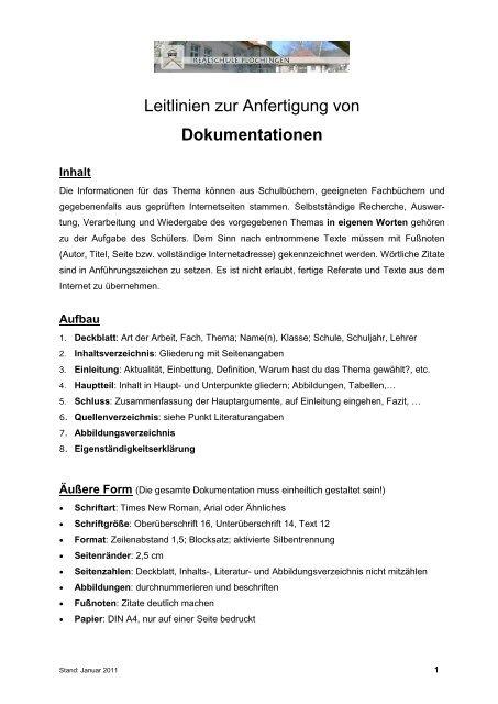 Leitlinien Zur Anfertigung Von Dokumentationen Realschule