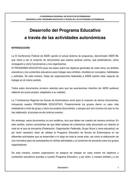42ea7ab3d Reglamento de Actividades Autonómicas - Scouts de Extremadura