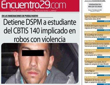 Detiene DSPM a estudiante del CBTIS 140 ... - Encuentro 29
