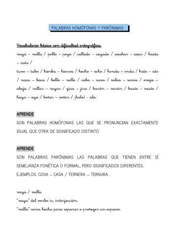 PALABRAS HOMÓFONAS Y PARÓNIMAS Vocabulario básico con ...