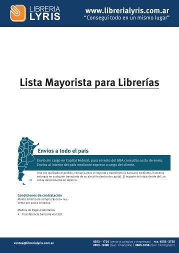 Portada lista mayorista - Libreria Lyris