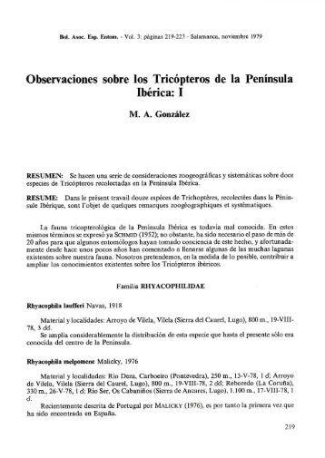 Observaciones sobre los Tricópteros de la Península Ibérica: I