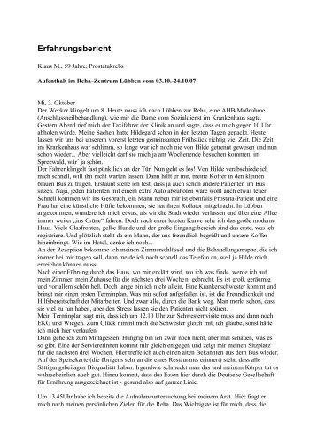 Klaus M., 59 Jahre, Prostatakrebs Aufenthalt im Reha