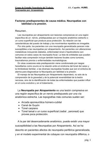 pág. 1 Factores predisponentes de causa médica. Neuropatías con ...