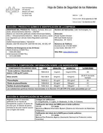 AlphaCell MSDS Hoja - español
