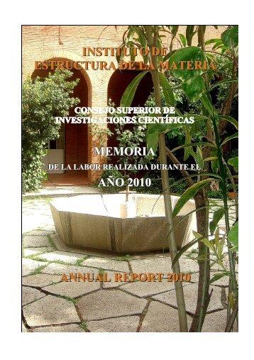 memoria de 2010 - Instituto de Estructura de la Materia - CSIC