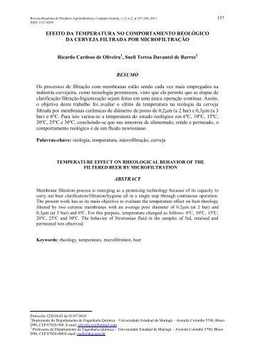 Efeito da temperatura no comportamento reológico da cerveja