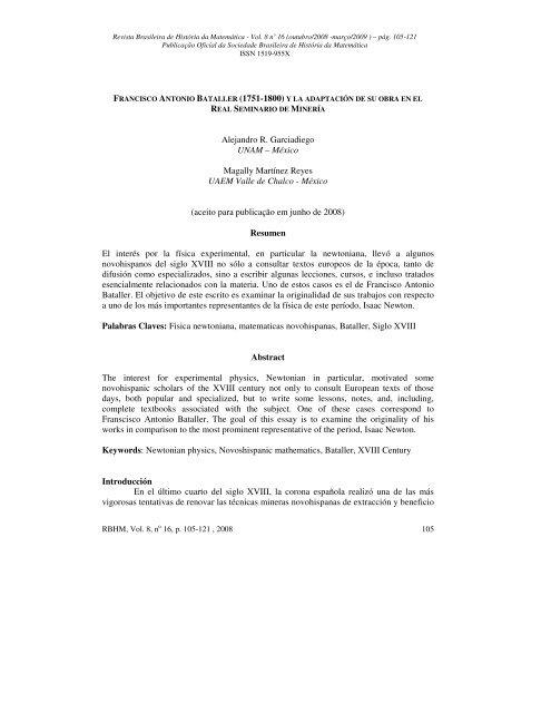 Alejandro R. Garciadiego UNAM - RBHM - REVISTA BRASILEIRA ...