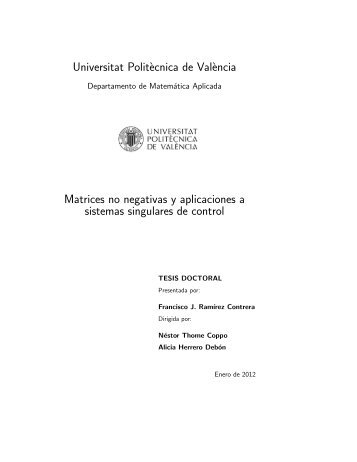 Universitat Polit`ecnica de Val`encia Matrices no negativas ... - RiuNet