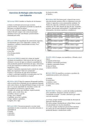 Exercícios de Biologia sobre Excreção com ... - Projeto Medicina
