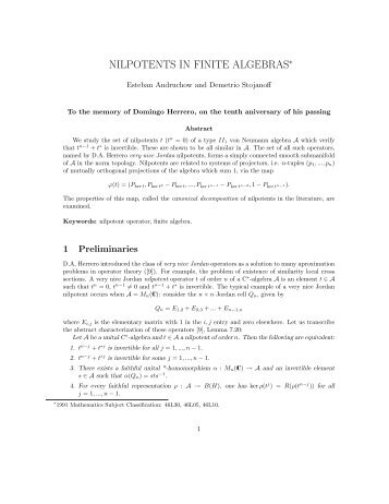 NILPOTENTS IN FINITE ALGEBRAS∗ - IAM