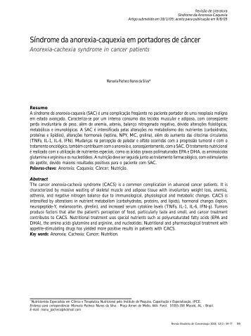 Síndrome da anorexia-caquexia em portadores de câncer - Instituto ...