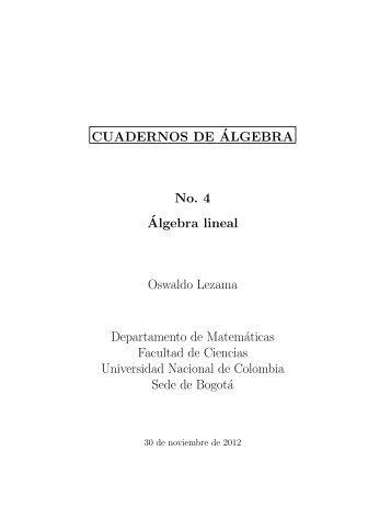 Algebra lineal - Departamento de Matemáticas - Universidad ...