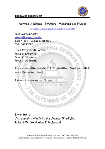 Disciplina: Mecânica dos Fluidos - UFSM