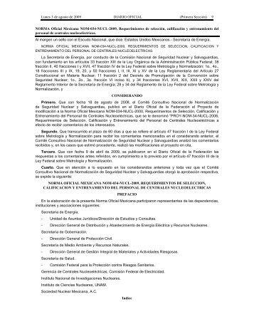 NORMA Oficial Mexicana NOM-034-NUCL-2009 - LEGISMEX ...