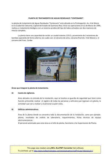 """La planta de tratamiento de Aguas Residuales """"Centenario"""""""