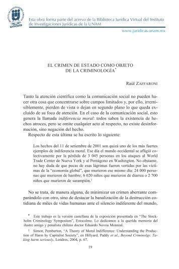 EL CRIMEN DE ESTADO COMO OBJETO DE LA CRIMINOLOGÍA ...