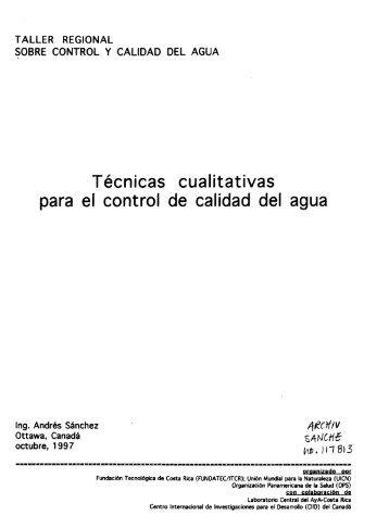 Técnicas cualitativas para el control de calidad del agua -- TALLER ...
