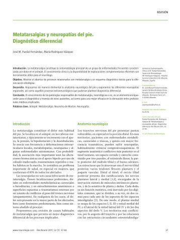 Metatarsalgias y neuropatías del pie. Diagnóstico ... - Neurologia.com
