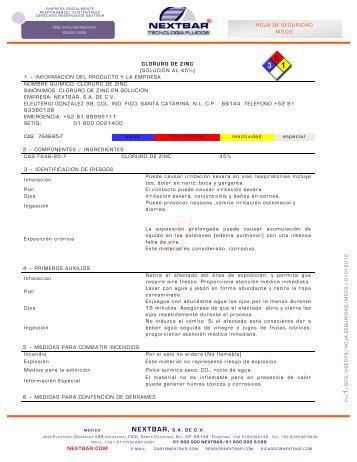 HOJA DE SEGURIDAD MSDS NEXTBAR.COM CLORURO DE ZINC ...