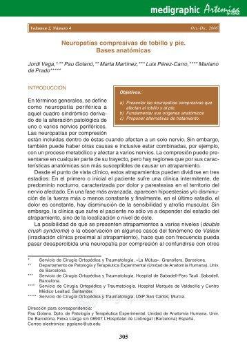 Neuropatías compresivas de tobillo y pie. Bases ... - edigraphic.com