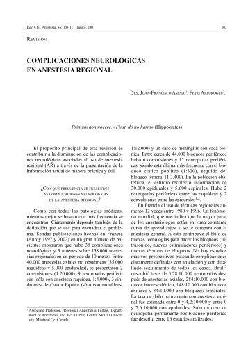 Complicaciones neurológicas en Anestesia Regional - Sociedad de ...