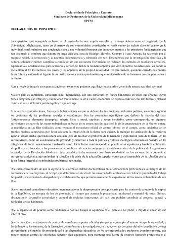 Declaración de Principios y Estatuto Sindicato de ... - SPUM