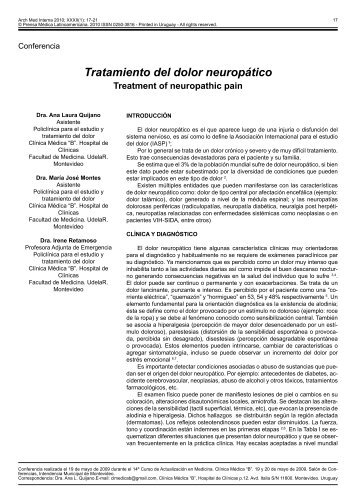 Tratamiento del dolor neuropático - SciELO