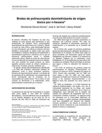 Brotes de polineuropatía desmielinizante de origen tóxico ... - scsmt