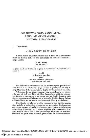Los Nuevos como vanguardia - Centro Virtual Cervantes