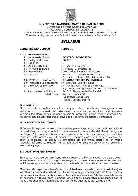 27. control biologico - Facultad de Ciencias Biológicas - Universidad ...