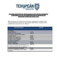 valores unitarios de usos de suelo por metro cuadrado, conforme a ...