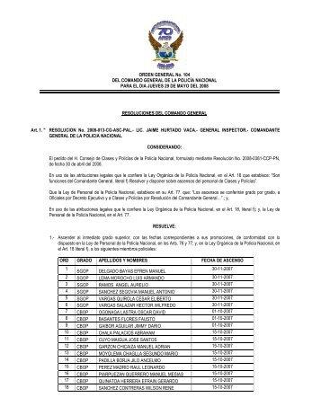 ORDEN GENERAL No. 104 DEL COMANDO GENERAL DE LA ...